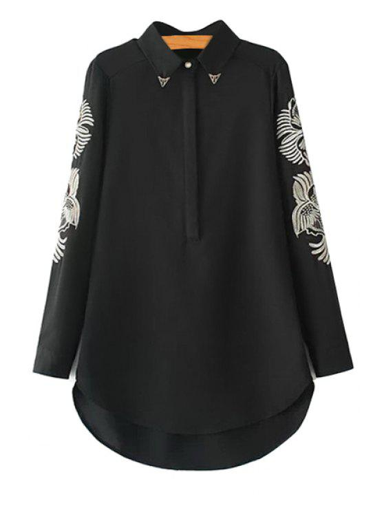 hot Long Sleeves Embroidery Shirt - BLACK S