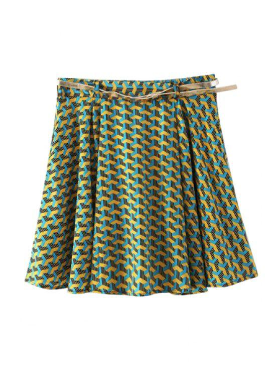 women Candy Print A-Line Skirt - GREEN S