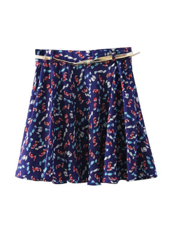 online Geometric Print A-Line Skirt - BLUE S