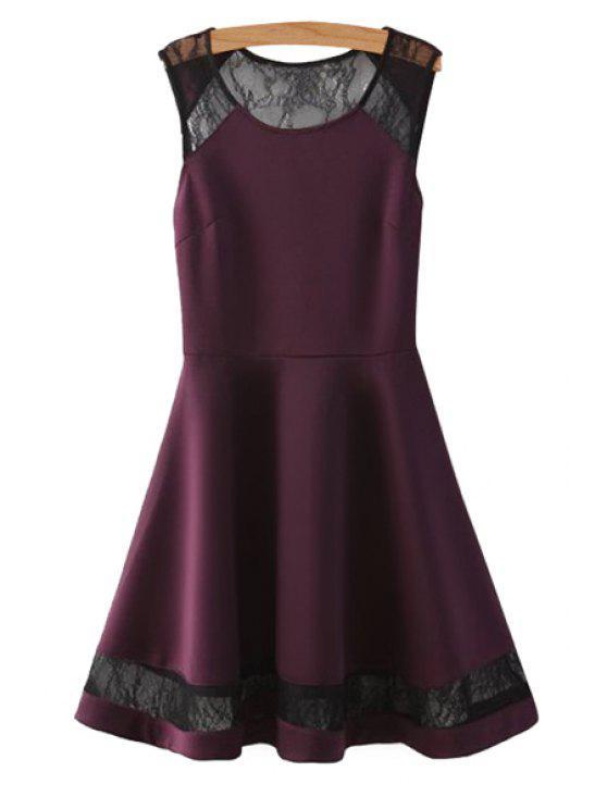 sale Lace Splicing Sleeveless Dress - PURPLISH RED S