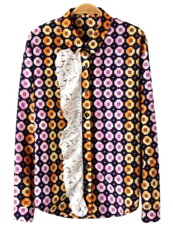 women Print Lace Splicing Long Sleeve Shirt - COLORMIX XS