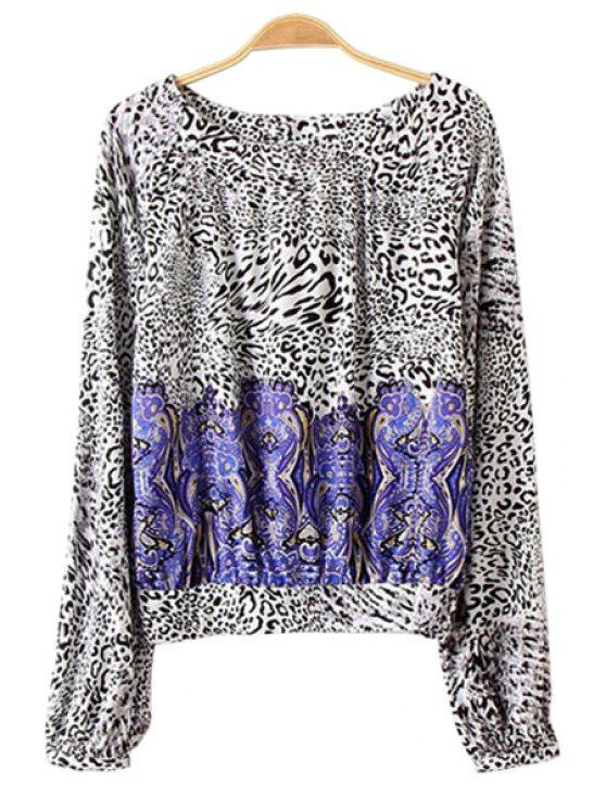 new Leopard Print Long Sleeve Blouse - LEOPARD S