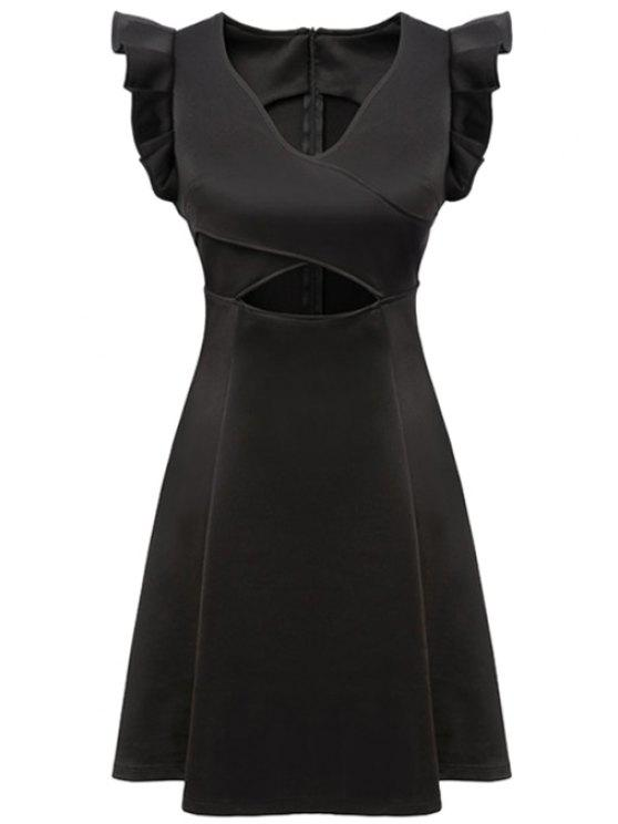 trendy Black V-Neck Ruffled Dress - BLACK S