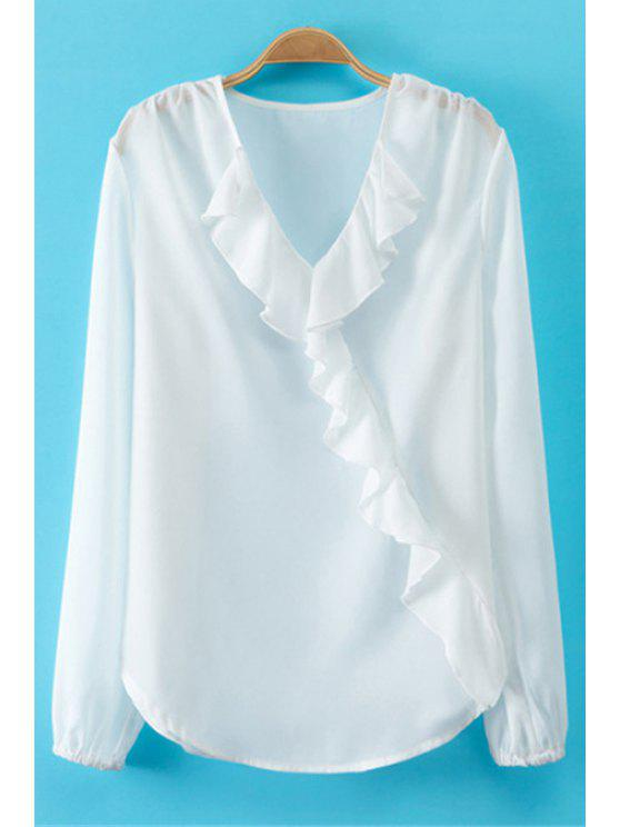 latest White Ruffled V-Neck Blouse - WHITE S