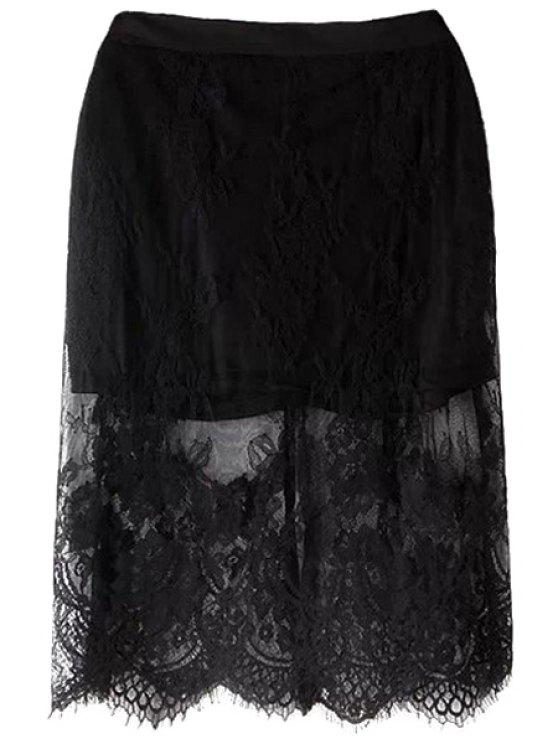 outfit Black Lace Splicing Skirt - BLACK L