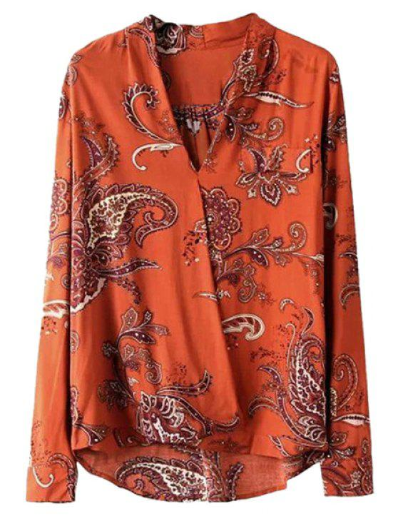 sale Retro Print V-Neck Blouse - DARKSALMON S