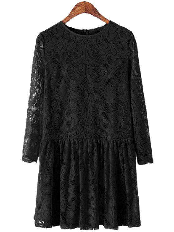 affordable Solid Color Lace Hollow Dress - BLACK S
