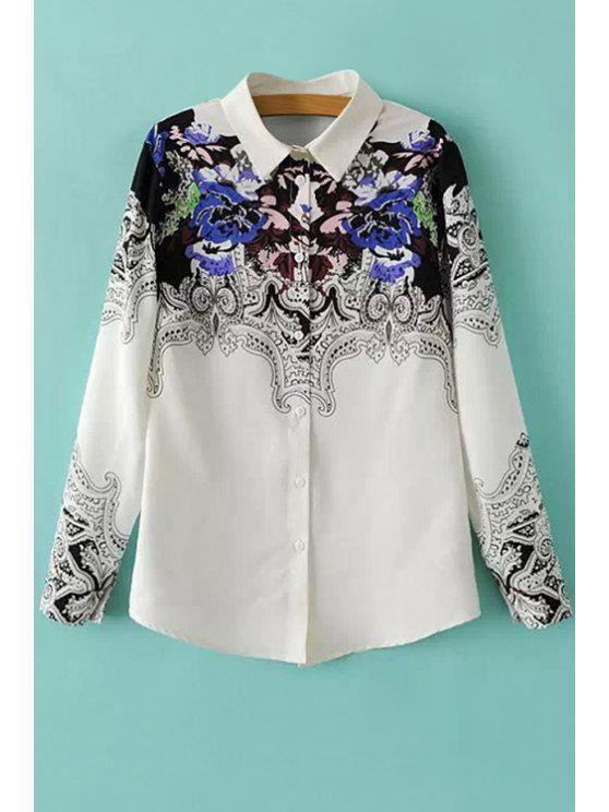 women Shirt Collar Retro Print Shirt - WHITE AND BLACK S