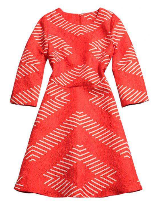 new Striped Print 3/4 Sleeve Dress - RED S