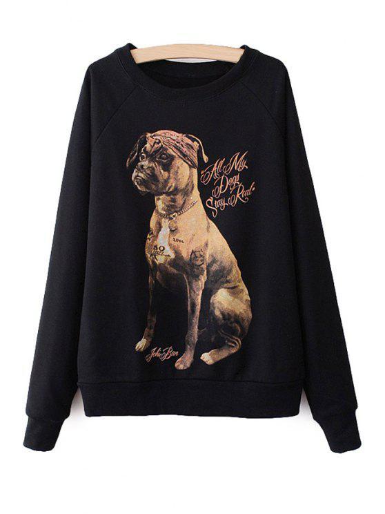 online Long Sleeves Dog Print Sweatshirt - BLACK M