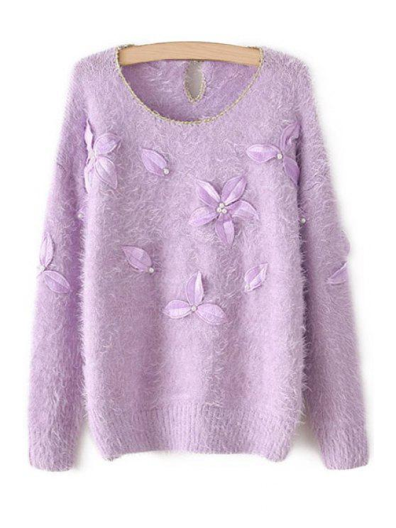 latest Leaf Embroidery Long Sleeve Sweater - PURPLE ONE SIZE(FIT SIZE XS TO M)