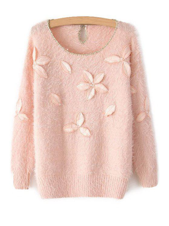 fashion Leaf Embroidery Long Sleeve Sweater - PINK ONE SIZE(FIT SIZE XS TO M)