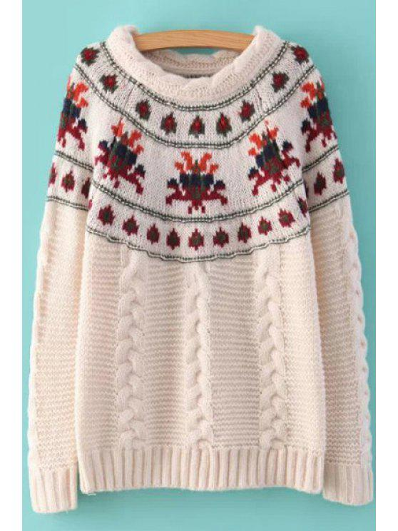 fancy Retro Pattern Cable-Knit Sweater - OFF-WHITE ONE SIZE(FIT SIZE XS TO M)