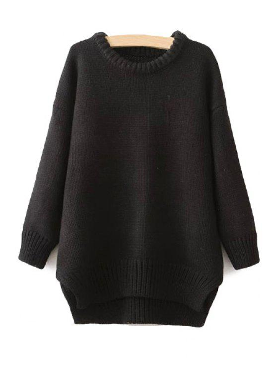 women Long Sleeves High-Low Hem Sweater - BLACK ONE SIZE(FIT SIZE XS TO M)