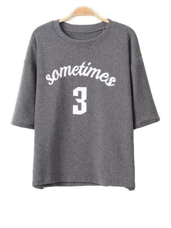 chic Letter Print Half Sleeve T-Shirt - GRAY ONE SIZE(FIT SIZE XS TO M)