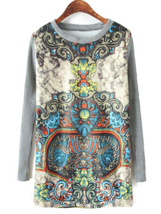 shop Retro Print Knit Splicing Sweatshirt - GRAY ONE SIZE(FIT SIZE XS TO M)