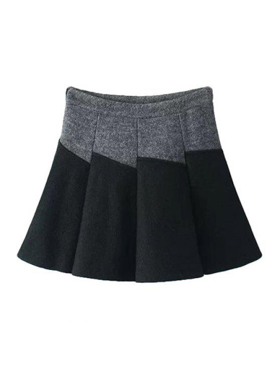 shops Color Block A-Line Skirt - GRAY S