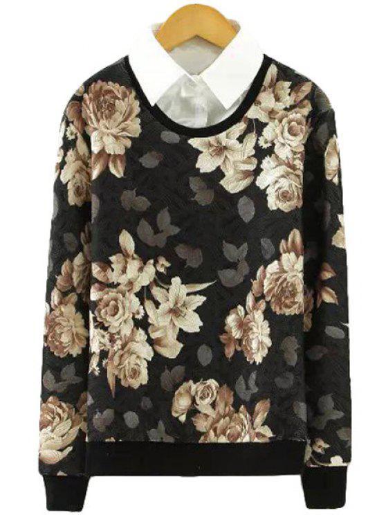online Shirt Collar Floral Print Sweatshirt - BLACK M