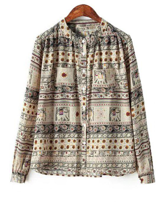ladies Retro Print Long Sleeve Shirt - COLORMIX S