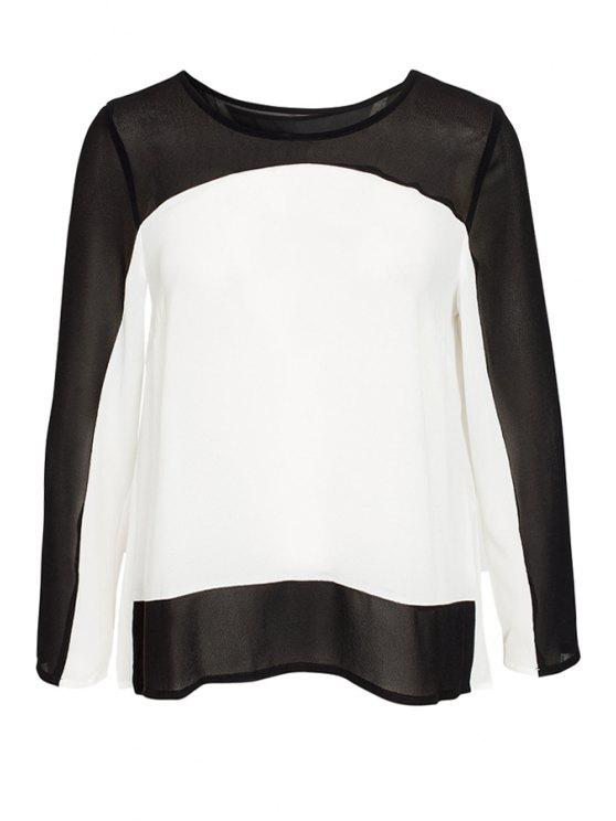 sale Color Block Pleated Blouse - WHITE AND BLACK S