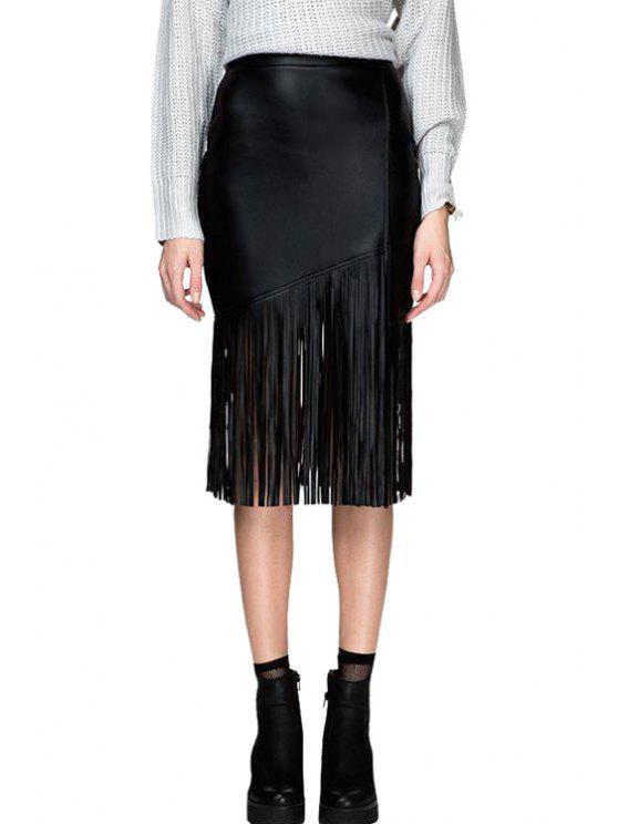 shops Black Fringe PU Leather Skirt - BLACK M