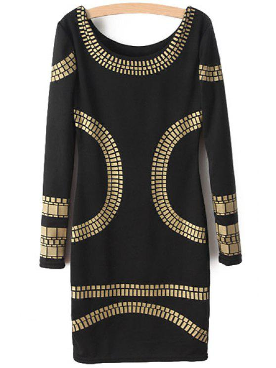 ladies Golden Print Long Sleeve Dress - BLACK S