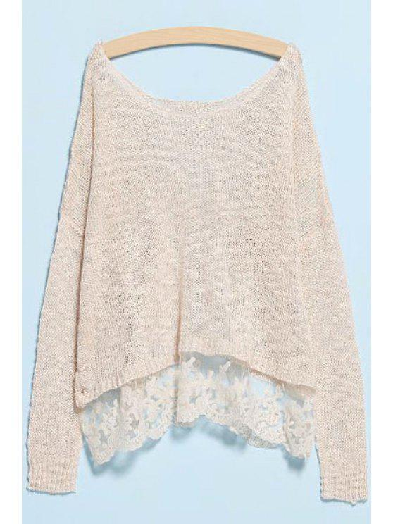 outfits Scoop Neck Lace Splicing Knitwear - OFF-WHITE S