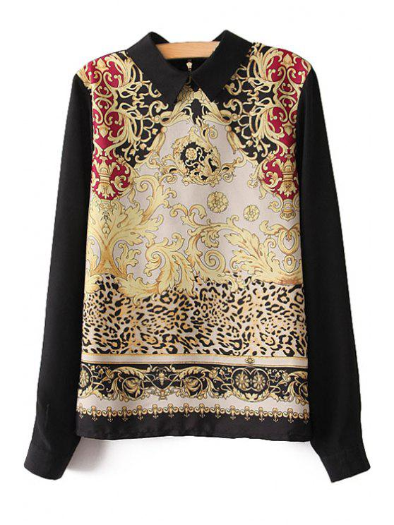 womens Retro Print Splicing Long Sleeve Shirt - BLACK S