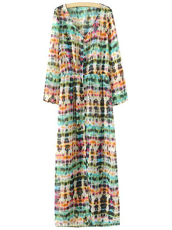 best Print Single-Breasted Chiffon Dress - COLORMIX S