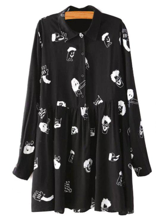 hot Turn-Down Collar Cartoon Print Dress - BLACK S