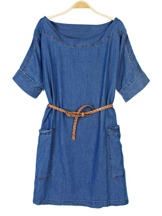 latest Solid Color Short Sleeve Denim Dress - BLUE M