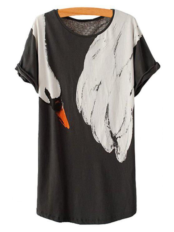 hot Short Sleeve Swan Print T-Shirt - BLACK ONE SIZE(FIT SIZE XS TO M)