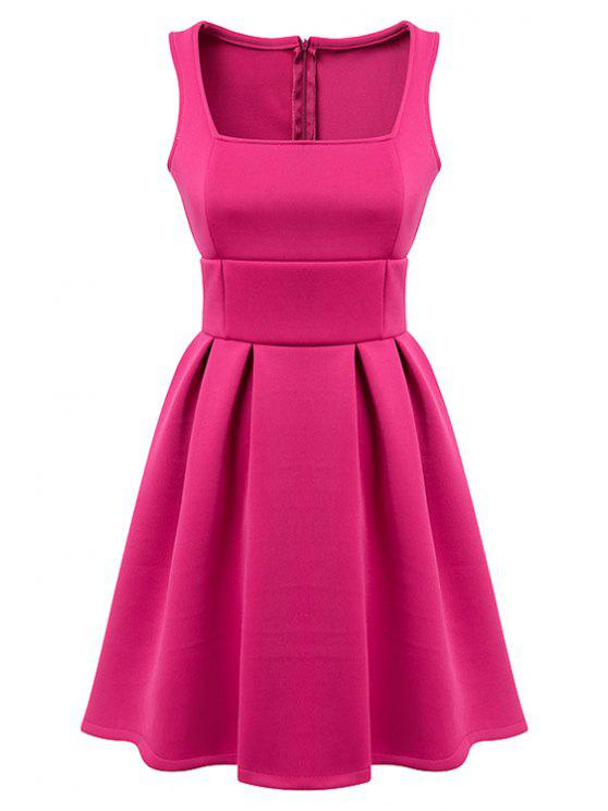fancy Sleeveless Solid Color A-Line Dress - PLUM L