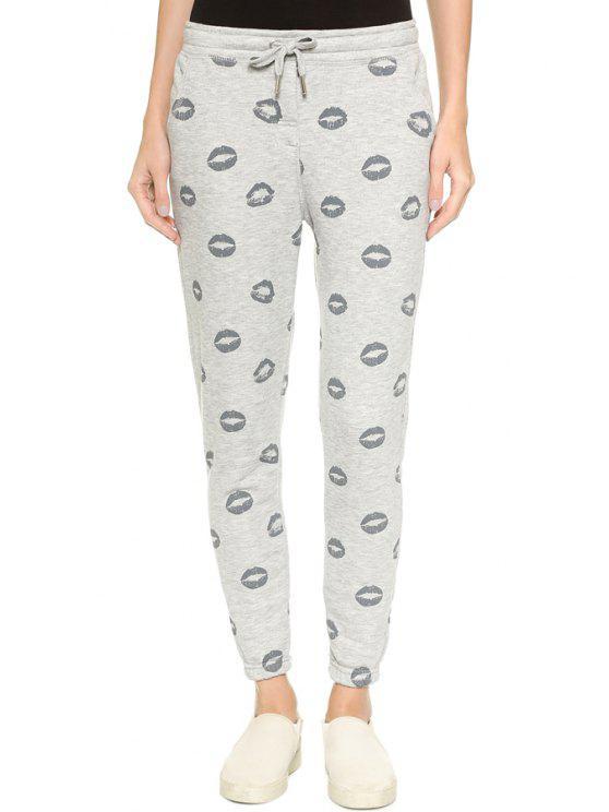 chic Lip Print Elastic Waist Drawstring Pants - LIGHT GRAY S