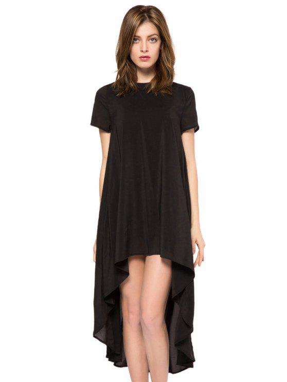 outfit Solid Color Short Sleeve High-Low Dress - BLACK XS