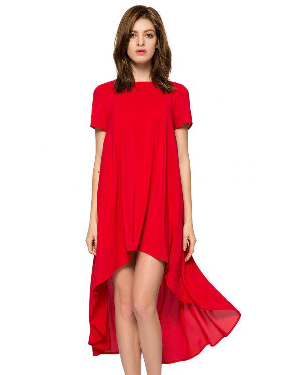 chic Solid Color Short Sleeve High-Low Dress - RED S