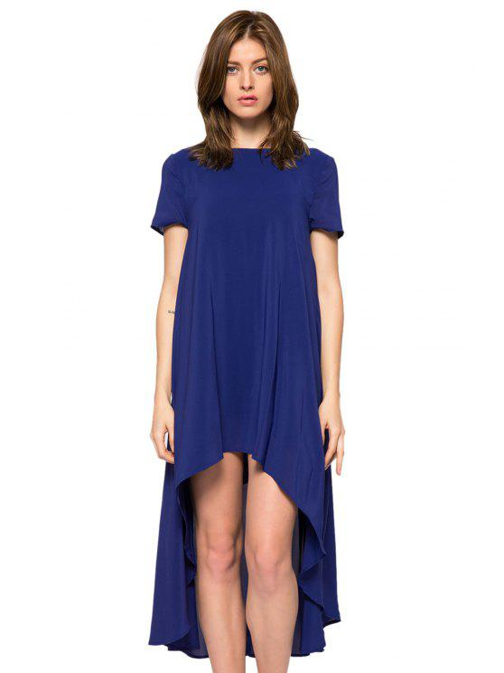 womens Solid Color Short Sleeve High-Low Dress - BLUE S