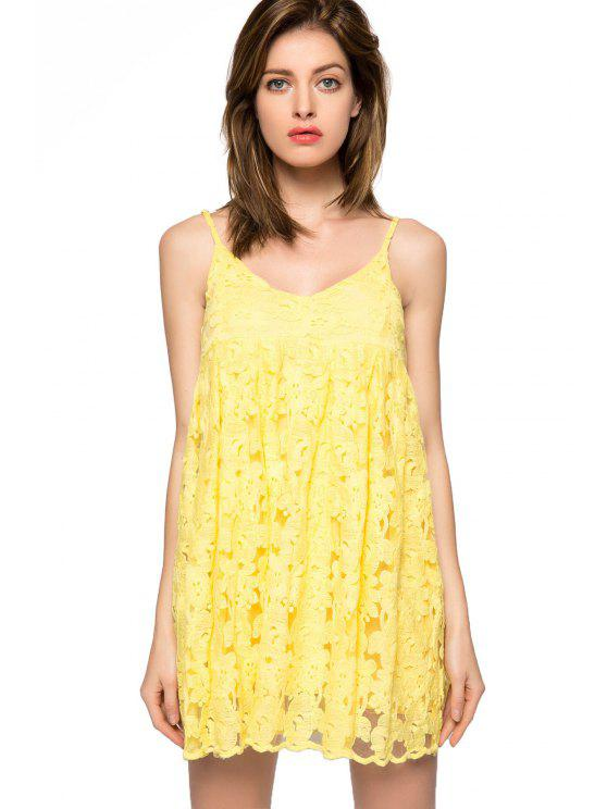 latest Floral Spaghetti Straps Dress - YELLOW 2XL