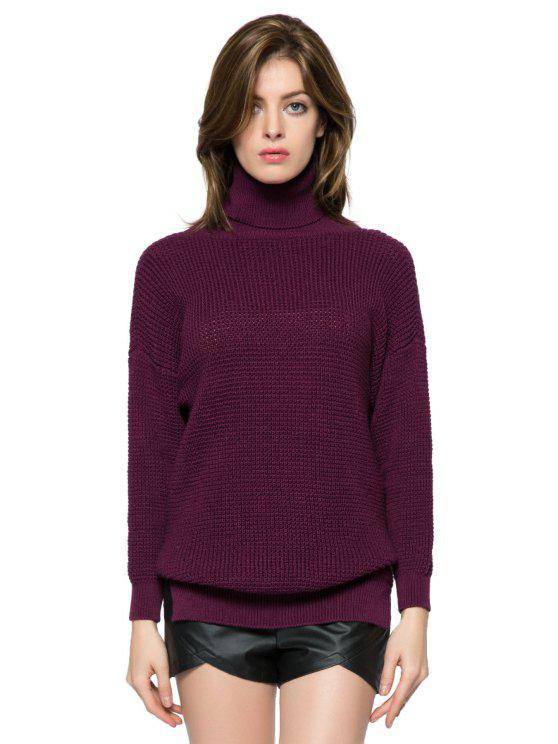 shop Solid Color Turtle Neck Sweater - DARK RED XS