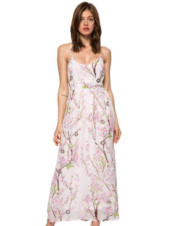 best Floral Spaghetti Straps Backless Dress - WHITE XS