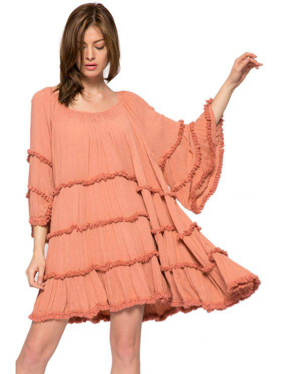 trendy Solid Color Flare Sleeve Fringe Dress - ORANGEPINK XS