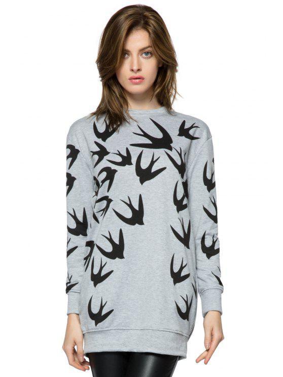 fashion Swallow Print Long Sleeve Dress - GRAY XS