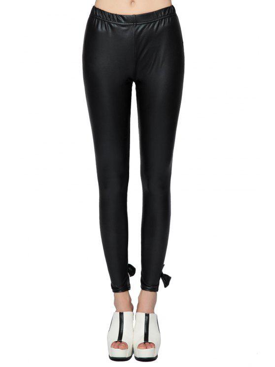 women PU Leather Bowknot Leggings - BLACK 2XL