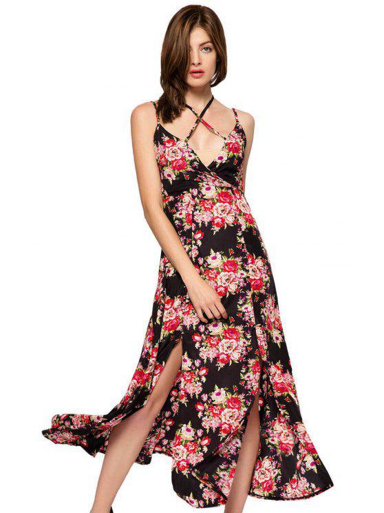 affordable Floral Print Spaghetti Straps Slit Dress - BLACK XS