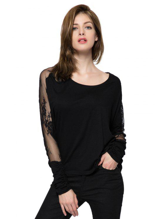 ladies Lace Splicing Long Sleeve T-Shirt - BLACK XL