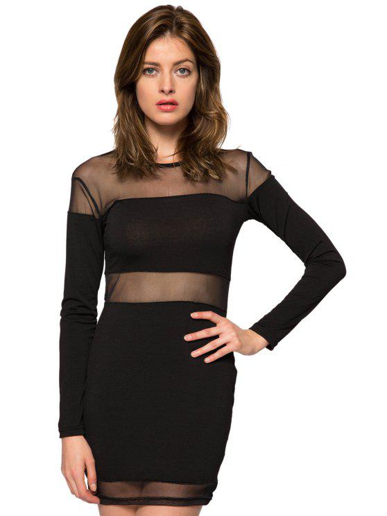 outfits Voile Splicing Long Sleeve Dress - BLACK XS