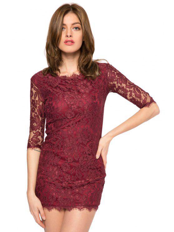 shop Solid Color 3/4 Sleeve Lace Dress - DEEP PURPLE 2XL