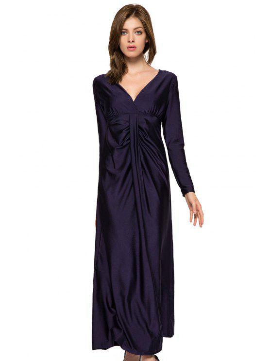 fashion Plunging Neck Solid Color Dress - DEEP BLUE L