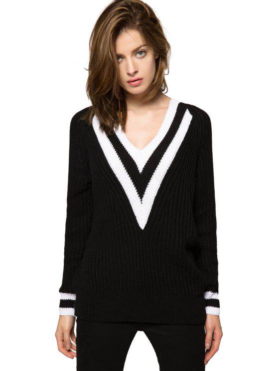 outfits Color Block Plunging Neck Sweater - BLACK S