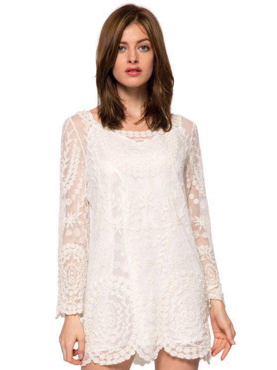fashion Long Sleeve Lace Embroidery Dress - WHITE XS